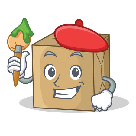 Artist cardboard character character collection vector illustration