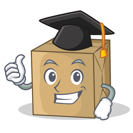 Graduation cardboard character character collection vector illustration.