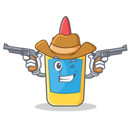 Cowboy glue bottle character cartoon vector illustration