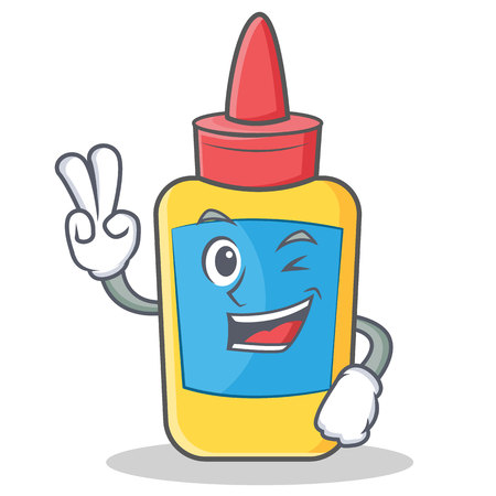 Two finger glue bottle character cartoon vector illustration. Stock Illustratie
