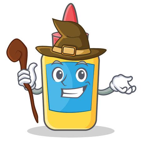 Witch glue bottle character cartoon vector illustration Illustration