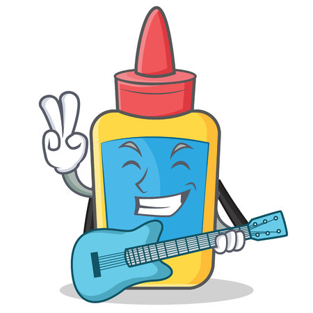 With guitar glue bottle character cartoon vector illustration