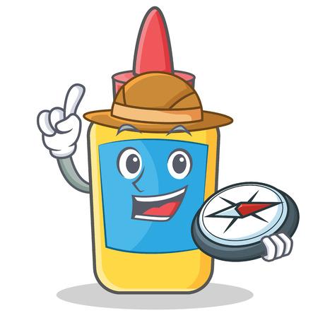pegamento: Dibujos animados de personaje de cola de botella de Explorer