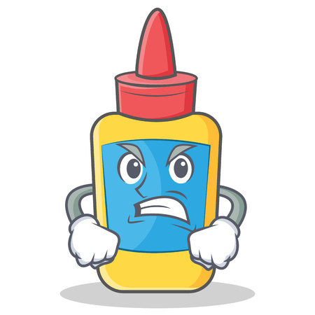 Angry glue bottle character cartoon