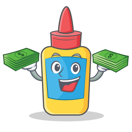 With money glue bottle character cartoon