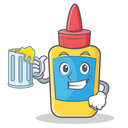 With juice glue bottle character cartoon