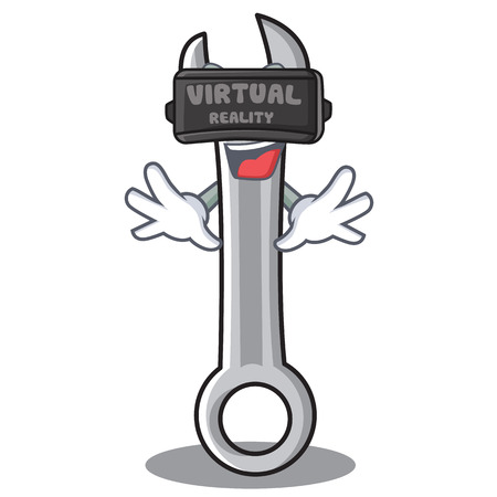 With virtual reality spanner character cartoon style vector illustration Illustration