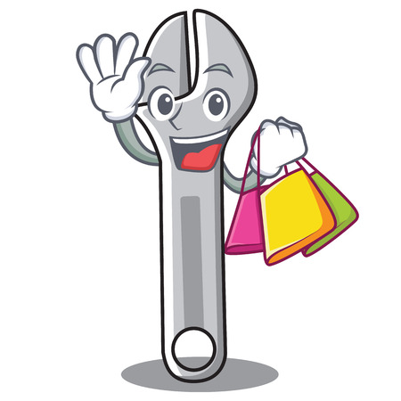 Shopping wrench character cartoon style vector illustration Illustration