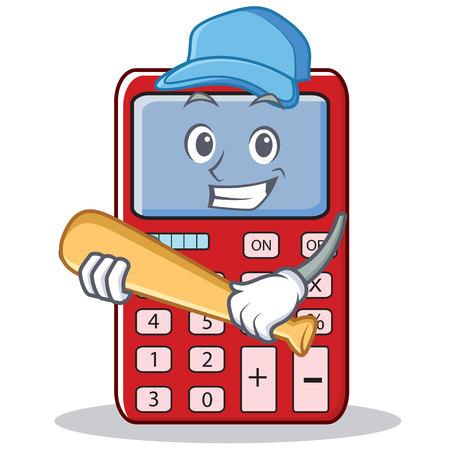 Playing baseball cute calculator character cartoon vector illustration