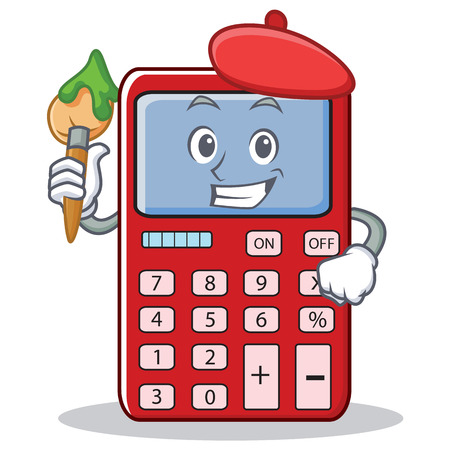 Artist cute calculator character cartoon