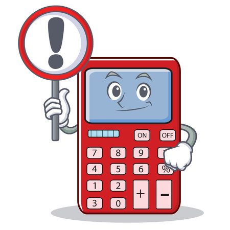 With sign cute calculator character cartoon