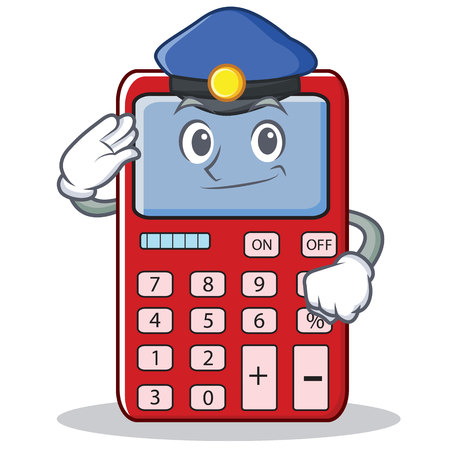 Police cute calculator character cartoon Illustration