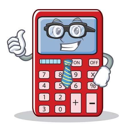 Businessman cute calculator character cartoon