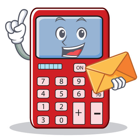 With envelope cute calculator character cartoon Illustration