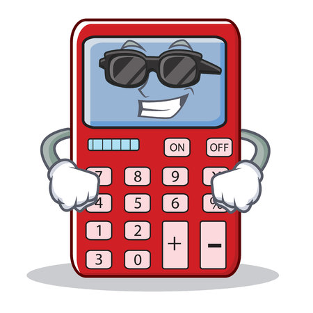 Super cool cute calculator character cartoon