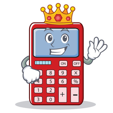 King calculator character; calculator wearing crown in cartoon illustration.