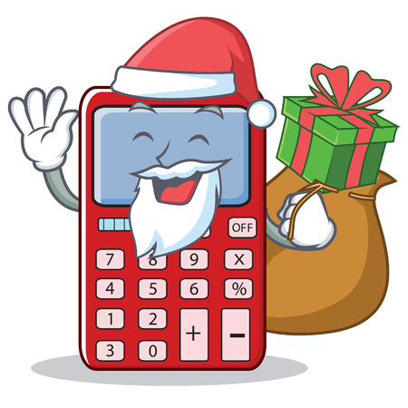 Santa with gift cute calculator character cartoon Illustration