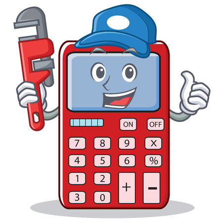 Plumber cute calculator character cartoon