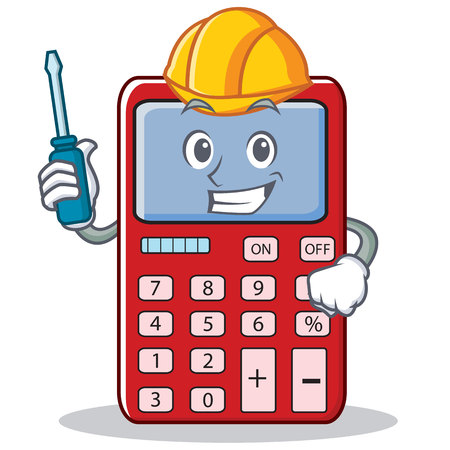 multiplication: Automotive cute calculator character cartoon