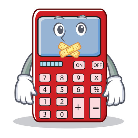 Emoticon calculator character; calculator silent gesture; mouth with medical plaster in cartoon illustration.
