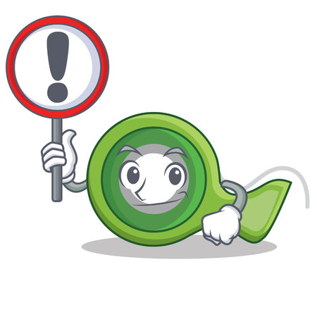 With sign adhesive tape character cartoon Illustration
