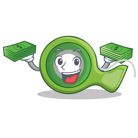 With money adhesive tape character cartoon vector illustration