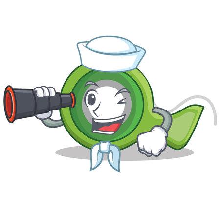 Sailor with binocular adhesive tape character cartoon vector illustration Illustration