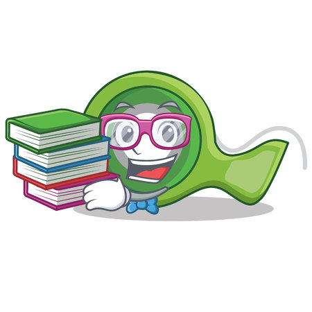 Student with book adhesive tape character cartoon vector illustration