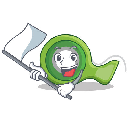 With flag adhesive tape character cartoon vector illustration.