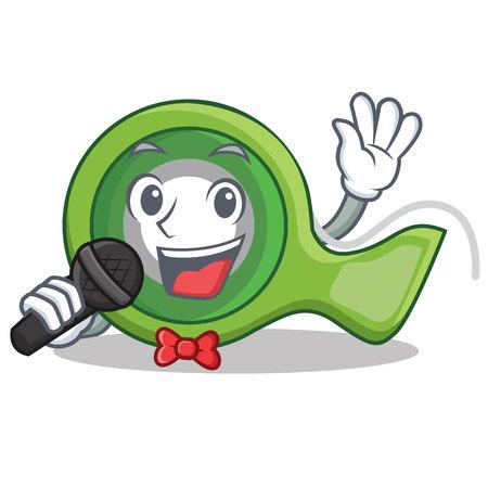 Singing adhesive tape character cartoon vector illustration. Illustration