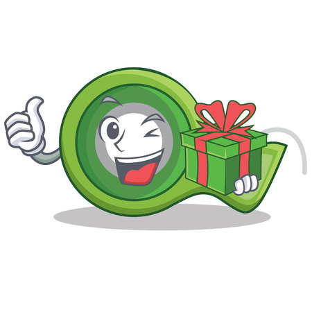 With gift adhesive tape character cartoon Stock Photo