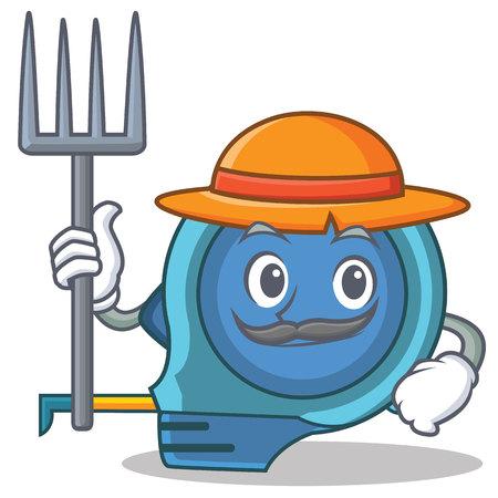 Farmer tape measure character cartoon vector illustration.