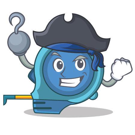 Pirate tape measure character cartoon vector illustration