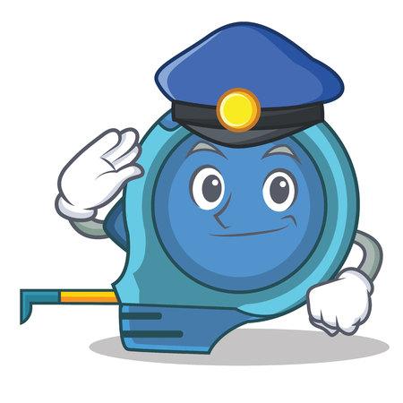 Police tape measure character cartoon vector illustration