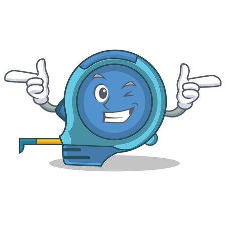 Wink tape measure character cartoon vector illustration Stock Illustratie