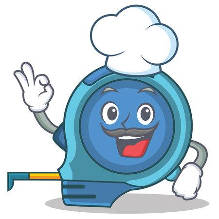 Chef tape measure character cartoon vector illustration