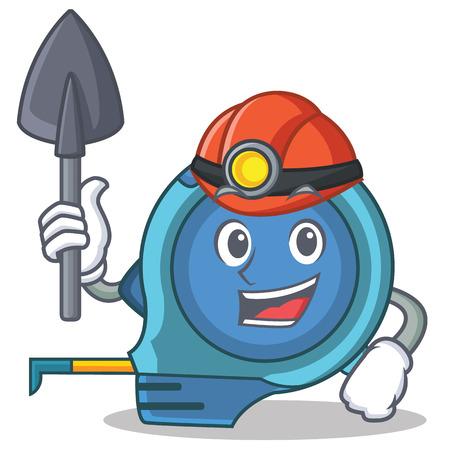 Miner tape measure character cartoon vector illustration Illustration