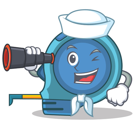 Sailor with binocular tape measure character cartoon vector illustration