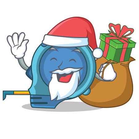Santa with gift tape measure character cartoon vector illustration