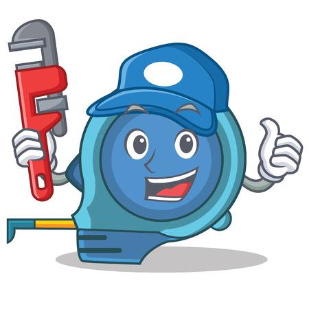 Plumber tape measure character cartoon Illustration