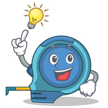 Have an idea tape measure character cartoon vector illustration Illustration
