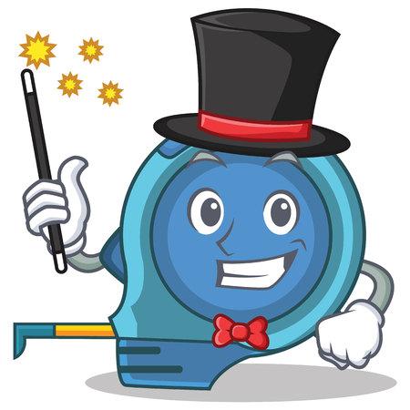millimeters: Magician tape measure character cartoon Stock Photo