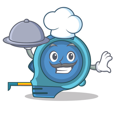 Chef with food tape measure character cartoon Stock Photo