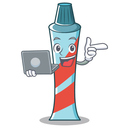 With laptop toothpaste character cartoon style vector illustration