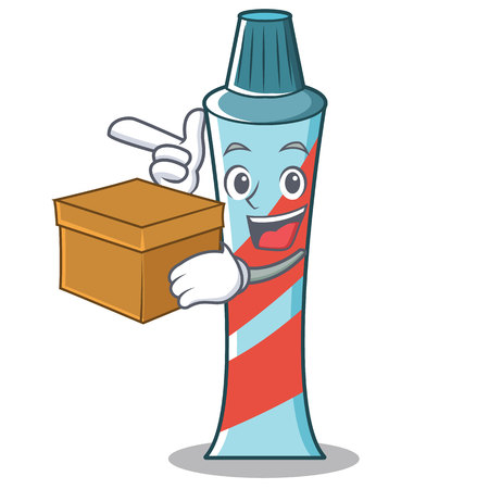 With box toothpaste character cartoon style