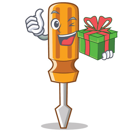 Screwdriver character holding a gift cartoon style illustration.