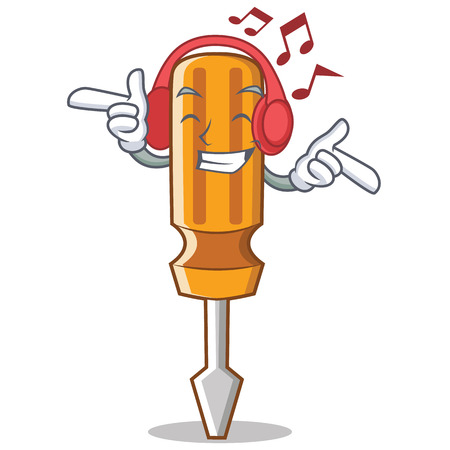 Listening music screwdriver character cartoon style