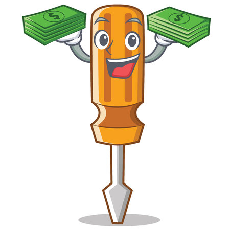 Screwdriver With money character cartoon style