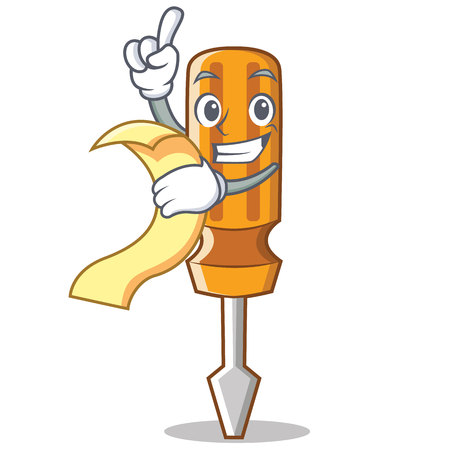 With menu screwdriver character cartoon style Stock Photo