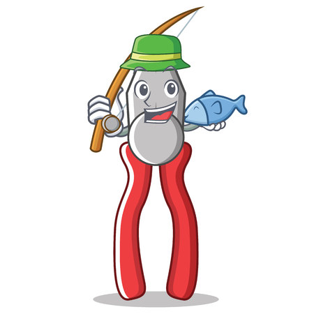 Fishing pliers character cartoon style vector illustration. Illustration
